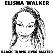 B&W drawing of Elisha Walker with her name written on top and