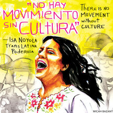 Painting of Isa Noyola and the words
