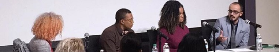 Picture of a panel of 4 speakers - Reina Gossett, Holiday Simmons, Raquel Willis, and T.J. Jourian